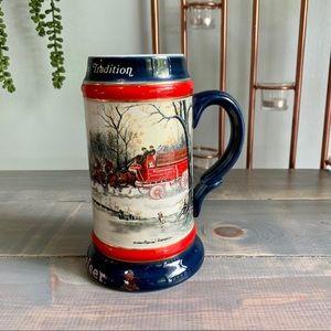 Vintage 1990 Budweiser Holiday Stein